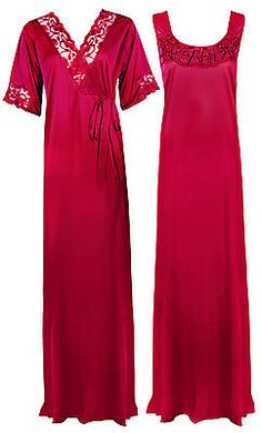 b4f267870e New ladies satin nightie womens long nighty nightdress robe gown 2 pc set 8- 14