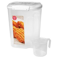 Sistema® 13.7 Cup Sugar & Flour Container at Bed Bath Beyond.$9.99.   The 13.7 Cup is for flour, and the 10.2  Cup is for sugar. Same one as pictured on http://www.kingarthurflour.com/shop/items/lock-top-container-flour