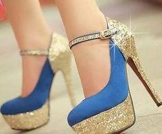 65994e8ad0af Blue and golden heel Prom Shoes
