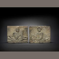 A rare pair of stone plaques of musicians  Song Dynasty