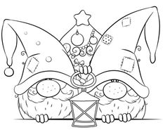 Gnome Coloring Pages – coloring. Christmas Gnome, Christmas Colors, Christmas Art, Vector Christmas, Disney Christmas, White Christmas, Colouring Pages, Adult Coloring Pages, Coloring Books