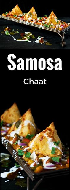 Samosa Chaat - A delicious dish of chole and samosas, topped with chopped tomatoes, onions, cilantro Indian Snacks, Indian Food Recipes, Asian Recipes, Vegetarian Recipes, Cooking Recipes, Cooking Tips, Samosas, Samosa Chaat, Chaat Recipe
