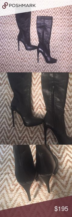 BCBG knee-high boots Leather knee-high boots. Metal detail in back of heel. Side zippers. Worn once so these are in pristine condition. BCBG Shoes Heeled Boots