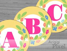 Spring Banner Letters, Aplhabet A-Z, Numbers 0-1, Yellow Circle with Flower Wreath, printable spring party decor, instant download by ArigigiPixel on Etsy
