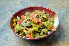 Nopales Salad is made with prickly pear cactus, onions, tomatoes, lime and chili peppers