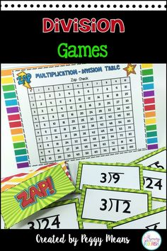 Math Fact Fluency Division – ZAP Games is a great CCSS Aligned resource for your classroom! 3.OA.C7 These games are a fun way for students to review and practice division facts. There are 12 games, one for each of the facts: 1's – 12's, so differentiation is easy. All 12 'ZAP' Games follow the same rules – this will make introducing them to your students a snap!