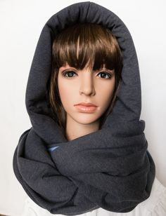 Hooded scarf chunky blue grey winter scarf unique by Jousilook