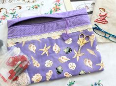 Purple Seashell Cross Stitch Sewing Embroidery by sewmuch2luv, $25.00
