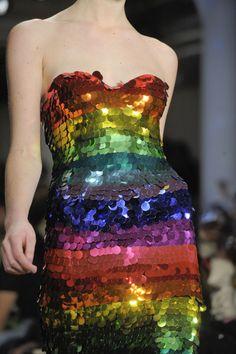 Rainbow couture dress - Jeremy Scott F/W New York Fashion Week Fashion Colours, Colorful Fashion, Fashion Details, Jeremy Scott, Rainbow Fashion, Rainbow Wedding, Fashion Designer, Sequin Dress, Bling Dress