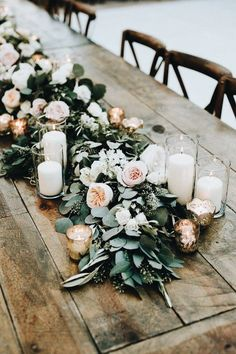peach blush and greenery floral garland wedding table setting ideas Mariage Boho 35 Trending Floral Greenery Wedding Ideas for 2019 Wedding Table Garland, Flower Garland Wedding, Flower Garlands, Wedding Greenery, Rustic Wedding Tables, Wedding Table Runners, Head Table Wedding Decorations, Long Table Wedding, Aisle Runners