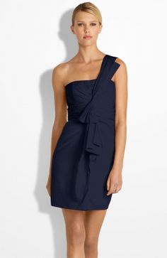 Drape Front One Shoulder Satin Dress