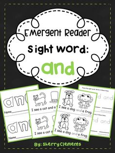 Emergent Reader: Sight Word: and - Great for guided reading in kindergarten and first grade. Also great for take home books - Incorporates rhyming - Provides for differentiation! $
