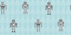 Retro Robot - Albany Wallpapers - A friendly robot motif design with an all over pattern, highlighted with individual characters. Shown in the grey on sky blue version. Other colourways available. Please request a sample for true colour match.