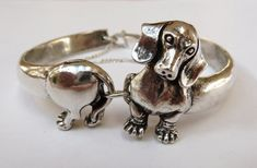 Sterling Silver Dachshund Bangle Bracelet by MorganFischerJewelry,