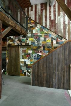 license plate wall - cute idea!!! Basement game room or man cave