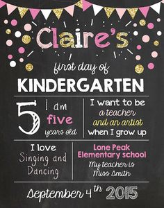 First day of school sign First day of Kindergarten chalkboard preschool Pink…