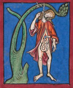 Judas Hanged (detail) | Psalter-Hours of Guiluys de Boisleux | after 1246 | The Morgan Library & Museum