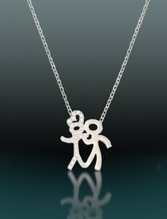 "Sterling Silver Zirconia Necklace  ""Romeo & Juliet"" by Afilly D'sign, $41.90"