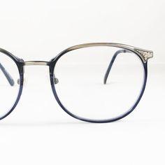 Vintage Eyeglasses, Silver Tone & Blue Vintage Eyewear Universal Made in…