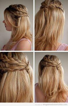Peinado sencillo con trenzas para pelo largo, semirrcogido