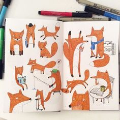 Fox #sketchbook #illustration #doodle #drawing #fox #micron #brushpen #sakuraofamerica #fabercastell #creative
