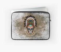 indian native Owl sugar Skull Laptop Sleeves #laptopsleeve #laptop #thedayofthedead #mexico #sugarskull #mexicoskull #horror #pattern #love #popart #indian