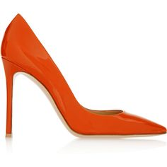 Gianvito Rossi Patent-leather pumps (€625) ❤ liked on Polyvore featuring shoes, pumps, heels, обувь, footwear, orange, patent leather shoes, orange patent leather pumps, patent leather pointed toe pumps and high heel pumps
