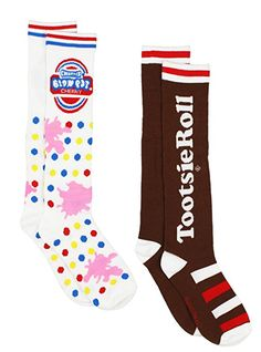 0398bbb2b42 Charms Candy Tootsie Roll Pop Womens 2 pack Knee High Socks (9-11 (Shoe  4-10)