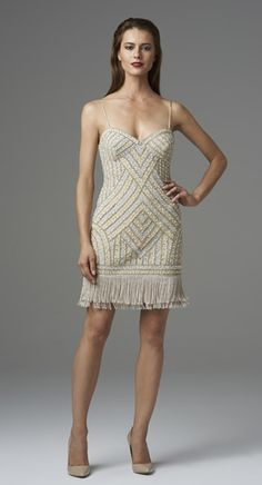 9a1c62f1cc3 Champagne Beaded Cocktail Dress w  Spaghetti Straps  amp  Fringe Casual Day  Dresses