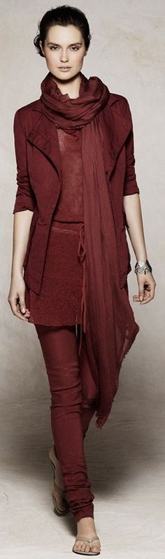 Sarah Pacini.   I love the different textures. I also like the idea of a chiffon blouse and scarf match.