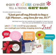 Do you want $10 and also to give you friends$10?????   Get a jump start on your holiday shipping at erincondren.com!  #free #giveaway #holidayshopping #holiday