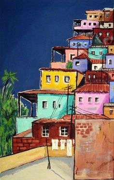 Favela colors, Rio de Janeiro, Favela Painting , Original Painting on stretched… Love Painting, Acrylic Painting Canvas, Canvas Art, Favelas Brazil, Brazil Art, Watercolor Paintings, Original Paintings, Art And Illustration, Whimsical Art