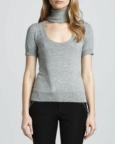 Rachel Zoe Reversible Deedee Cutout-Turtleneck Sweater