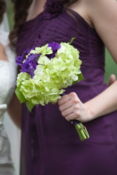 Wedding bouquet- light green Hydrangias with dark purple roses- Bridesmaid bouquets -hand-tied bouquet style