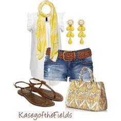 White t-shirt, cut off shorts, big brown belt & yellow scarf