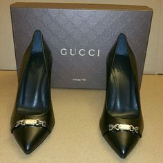 Authentic Gucci Pumps Gucci pumps with silver Gucci nameplate. 100% authentic. Size 38. USA size 8. No trades. Gucci Shoes Heels