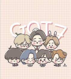 Bambam, Youngjae, Got7 Fanart, Kpop Fanart, Jackson, Park Jinyoung, Kpop Drawings, Cute Chibi, Watercolor Art