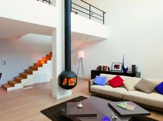 Wall-mounted steel fireplace with panoramic glass EDOFOCUS 631 by Focus design Dominique Imbert