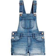 Denim Bib Overall Shorts $29.99 ($30) ❤ liked on Polyvore featuring shorts, blue shorts, pocket shorts, denim shorts, short overalls and overall shorts