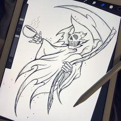 Tattoo Ideas Male Simple Ideas For 2019 Joker Drawings, Creepy Drawings, Dark Art Drawings, Easy Drawings, Pencil Drawings, Tattoo Sketches, Tattoo Drawings, Art Sketches, Reaper Drawing