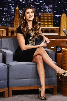"""Nina Dobrev visits """"The Tonight Show with Jimmy Fallon"""" on August 5, 2014."""