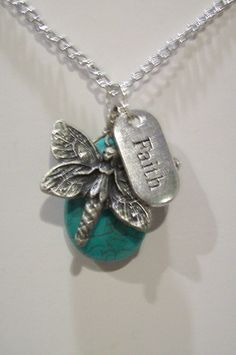 25% off! Turquoise Howlite Gemstone And Charms Pendant with Chain