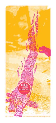Bjork and Dirty Projectors poster, early version, by Ian Crowther