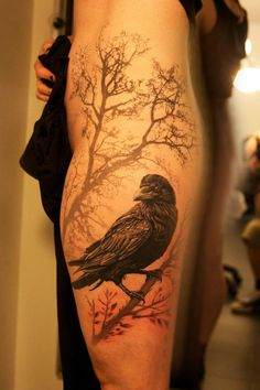 A raven in a mysterious morning, a beautiful raven tattoo design.