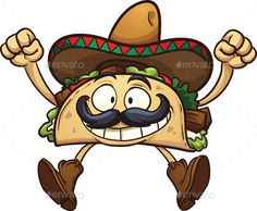 Cartoon Taco (CS, cartoon, character, excited, gradient, happy, illustration, isolated, jumping, mexican, mustache, sombrero, taco, vector)
