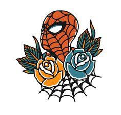 Old Tattoos, Cute Tattoos, Body Art Tattoos, Small Tattoos, Tattoos For Guys, Traditional Tattoo Vector, Traditional Tattoo Old School, Spiderman Tattoo, Marvel Tattoos
