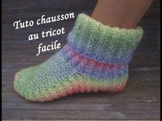 TUTO CHAUSSONS COTE ANGLAISE AU TRICOT Slippers booties knitting BOTITAS...