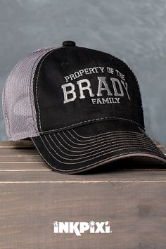 3fc2e8cb51de Property Of Family Black Charcoal Embroidered Trucker Hat