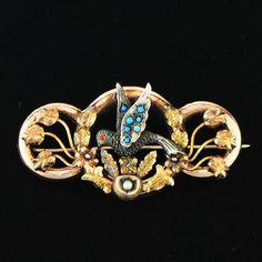 Antique Victorian Mexican 14K Gold Bird Pajaritos Brooch Pin