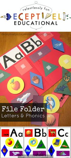 File Folder Phonics and Letters - It's equally important for kids to recognize the letters as it is to begin to associate the sounds they make with them. This great file folder game is perfect for reviewing two letters and their sounds at a time. Kids have to decide which shapes contain pictures of objects that begin with a particular letter. It's simple and smart and SO helpful.